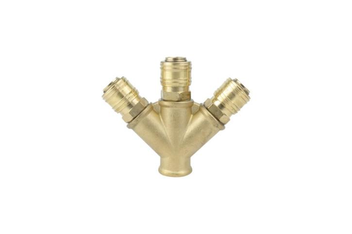 Druckluftkupplung Verteiler mit 3 Abgängen