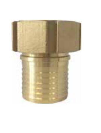 Schlaucharmatur, Mutterteil Schalenverschraubung mit gerilltem Stutzen und Sicherungsbund, Messing - PU Dichtung