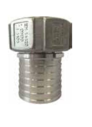 Schlaucharmatur, Mutterteil Schalenverschraubung mit gerilltem Stutzen und Sicherungsbund - PTFE Dichtung